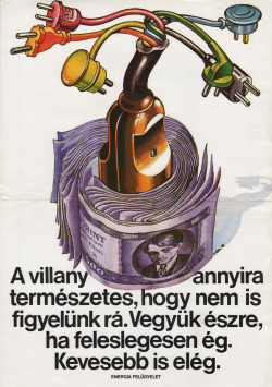 Hungarian poster promoting electricity efficiency, 1979.