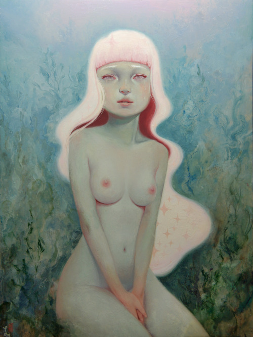 "artmonia:  Chach's Angel |Soey Milk. 9"" x 12"" Oil on wood."