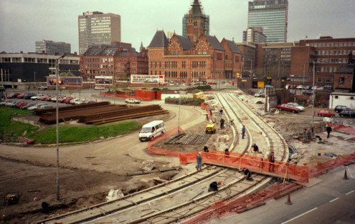 manchestergalore:  Metrolink under construction in 1991, as viewed from Manchester Piccadilly Station approach Camera location