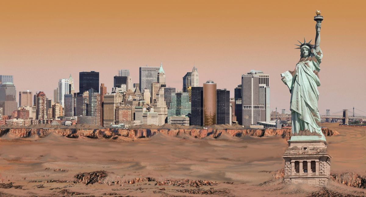 "NYC IN SPACE: Nickolay Lamm's Wild Illustrations Show Big Apple on Other Planets ""The idea came after seeing images of Mars' Mount Sharp,"" Lamm told The Huffington Post in an email. ""I felt that if I could show people what New York City looked like on other planets, I'd give people a sense of how lucky we are to be living on Earth."""