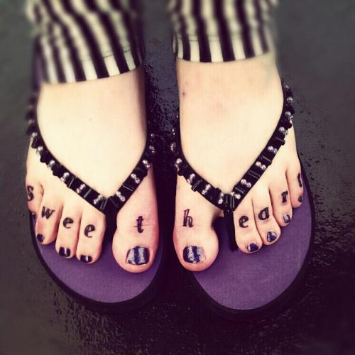 """Sweetheart"" feet, done by Nick at Old Town Tattoo, Edinburgh UK."