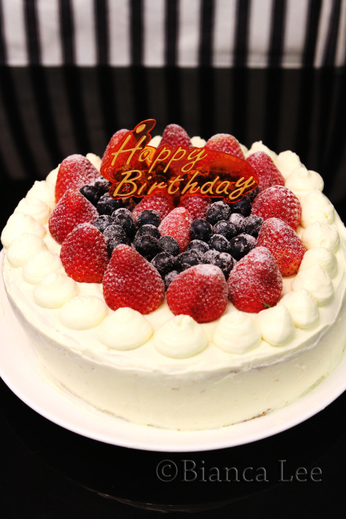 Strawberry Cream Cake (Birthday cake!) Recipe: makes 2 8in cakes  120g egg whites (around 8-10) 60g sugar 80g Egg yolk (approx 5) 20g sugar 60g oil 60g milk 80g flour 1/2 tsp baking powder and vanilla 1/4tsp baking soda Whipping cream Fresh strawberries Fresh blueberries 180C Beat whites until foamy, then add 60g sugar, and beat until stiff peaks. Set aside Beat yolk with 20g sugar until pale yellow and stiff. Add milk and oil, and beat, then add vanilla.  Sift in flour, baking powder, baking soda. Beat.  Fold in meringue, and pour mixture into cake mould, lined withbaking paper. Bake for 15 min Take out and leave to cool. Beat whipping cream, and chop strawberries. Spread cream on top of one cake layer then top with chopped strawberries then put final layer of cake on top, coat entire cake with cream and finish by decorating with strawberries and blueberries. Dust with icing sugar.