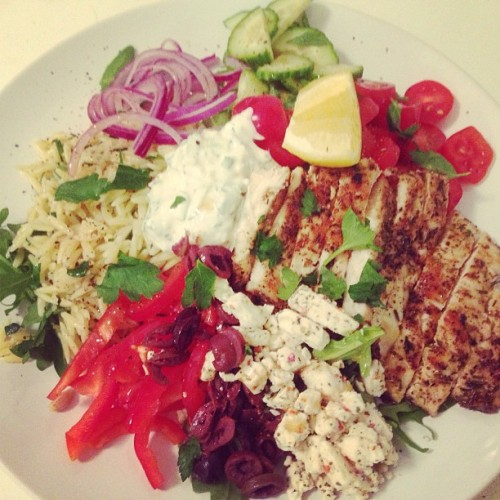 [HomeCookin'] my post workout grilled chicken Greek salad w/ feta, olives, herbed orzo and tzatziki. Yum! #food #salad #healthy #fitness #nyc #cooking #homecook #eastvillage #yum #foodporn