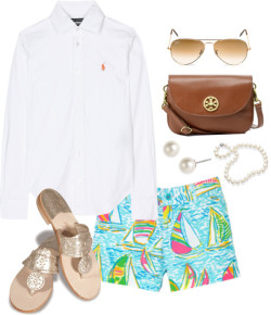 southernbombshell23:   Lily Shorts by lindsayychristinee featuring ray ban eyewear ❤ liked on Polyvore Ralph Lauren logo embroidered shirt / Lilly Pulitzer / Jack Rogers navajo sandals / Tory Burch  shoulder bag / Givenchy glass earrings / Pearl bridal jewelry, $600 / Ray-Ban ray ban eyewear