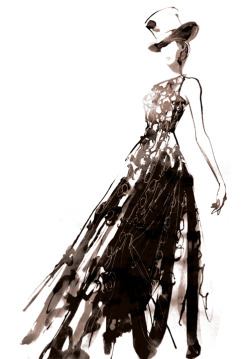 drawing Illustration art Black and White fashion dress painting style paris watercolor ink Sketch pattern print look top hat lookbook fashion illustration fashion sketch inks fashion week PFW Paris Fashion Week ready to wear brush gown fashion art AGANOVICH fashion drawing fashion illustrator