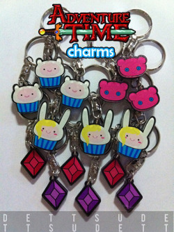 dettsu:  Buy Adventure Time inspired acrylic charms for just $4.00 each! If you buy the set of 5, it'll just be $18.75!! The artwork is sandwiched between 2 pieces of acrylic so it's waterproof and will never wear off!  You can order them with keyrings or cellphone straps! For international orders, go to my Storenvy! IF YOU ARE FROM THE PHILIPPINES, PLEASE USE THIS ORDER FORM! If you have questions, please don't be shy to message me on tumblr or email me at dettsu@icloud.com!