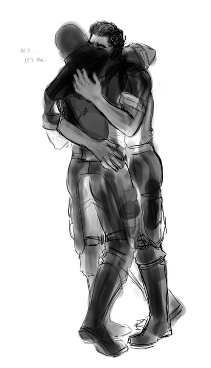 spicyshimmy:  stonelions:  Shepard has a lot of close calls and Kaidan can't be stoic all the time.  HOW TO HUG COMMANDER SHEPARD Sometimes, when he's shaky after a mission, thinking he did the wrong thing by doing the right one, and his hands are still cramping in the shape of a missed shot, and his scars stand out on his face like it's the face that's visiting, the scars that are constant, and his eyes are lost in place and time, and space opens up to swallow them.  When a clap on the shoulder would be protocol, but arms around his shoulders are the sanity check he's needing. When he makes a pretty bad joke. When he makes a pretty good one. When he's tired—and he's always tired. (And you're starting to think it's any old excuse you keep chasing.) When his knees buckle under grief or his body doubles under raw, tired, cosmic laughter. Or it's the end of a long day. Or the beginning of a new one. When you drank the last cup of coffee and he stumbles after the empty pot, and while another one brews, time needs a quiet, mercy killing.  When you haven't seen enough of each other the past twenty-four hours. When you've seen just enough to know how bad another hug's needed. When it's all about you, whether you'll see him again, whether you remembered what it's like not to see him. For long months that swell into years, time blurring, vision fading, meeting only in dreams that leave you wanting when you're finally awake again.  When you've got a headache. When he's got one. When you're saying goodbye, which is all you ever do. When you're saying hello, which still happens now and then.  Look at him, remember, try to forget, love, try not to mourn, and don't let him know every hug could be the last, but hold him, hold him, hold him like you mean it.