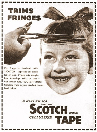 "zoomar:  Fix fringe to forehead with ""SCOTCH"" Tape and cut across top of tape. Fringe cuts straight, hair trimming stick to tape - won't fall in eyes. pantone811:  I do not recommend this for beards or bangs."