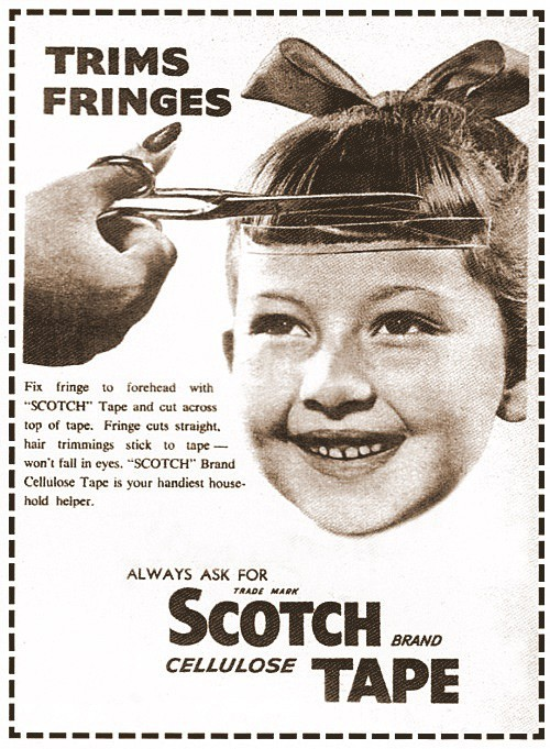 "zoomar:  Fix fringe to forehead with ""SCOTCH"" Tape and cut across top of tape. Fringe cuts straight, hair trimming stick to tape - won't fall in eyes. pantone811:  I do not recommend this for beards or ban"