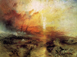 art-library:  Joseph Mallord William Turner, The Slave Ship (Slavers Throwing Overboard the Dead and Dying, Typhoon Coming On), 1840.  The essence of Turner's innovative style is the emotive power of color. He released color from any defining outlines to express both the forces of nature and the painter's emotional response to them.
