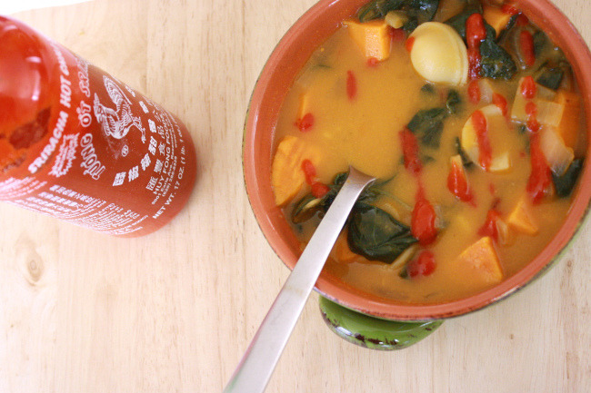 fuckyeah-sweetpotatoes:  Sweet potato and spinach soup