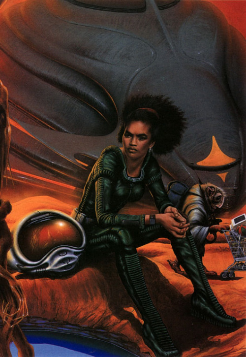 scifi-women:  Tabitha Jute, protagonist of Colin Greenland's Plenty books, illustrated by Jim Burns.