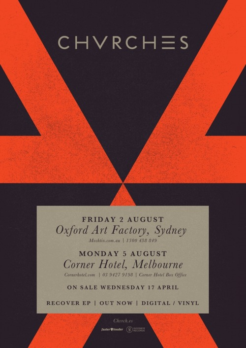 We're delighted to announce our first shows in Australia! Tickets on sale next Wednesday, 17 April at 9am: 2 August - Oxford Art Factory, Sydney: http://www.moshtix.com.au/5 August - Corner Hotel, Melbourne: http://cornerhotel.com/