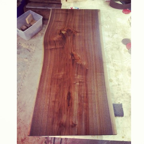 "This never gets old. 65"" Walnut dining table. In the shop soon."