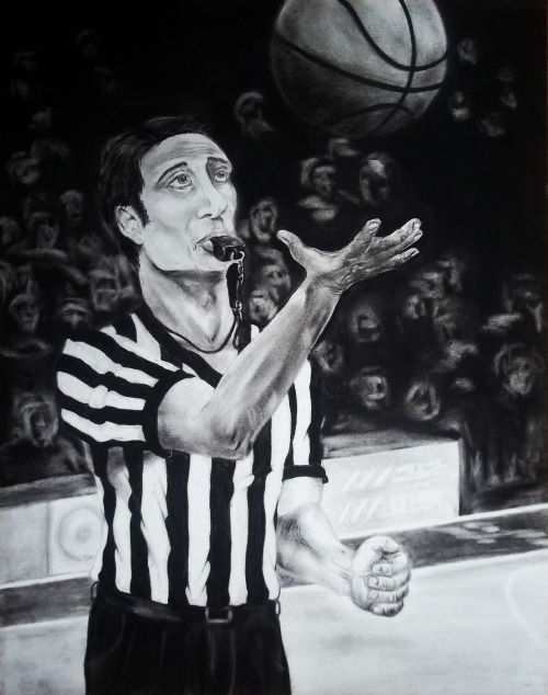 "Tip-Off (2012) Charcoal on paper - 22"" x 28"" A commission for one of my aunts. I hadn't done a charcoal drawing without any photographic reference in about two years. So this was challenging, and I can definitely improve. A lot. But regardless, I'm pretty happy with how this turned out."
