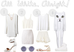 All White, Alright by tiffheartfashion featuring denim skirts