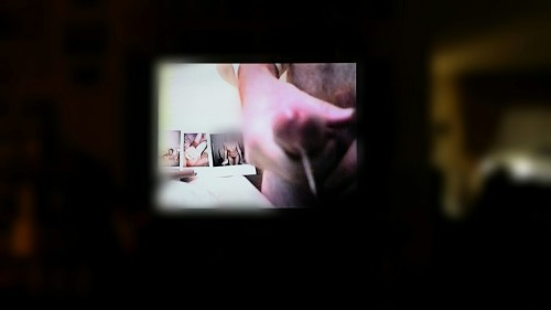"""Me masturbating and Cumming on old sex video on my """"65 inch"""" TV!"""