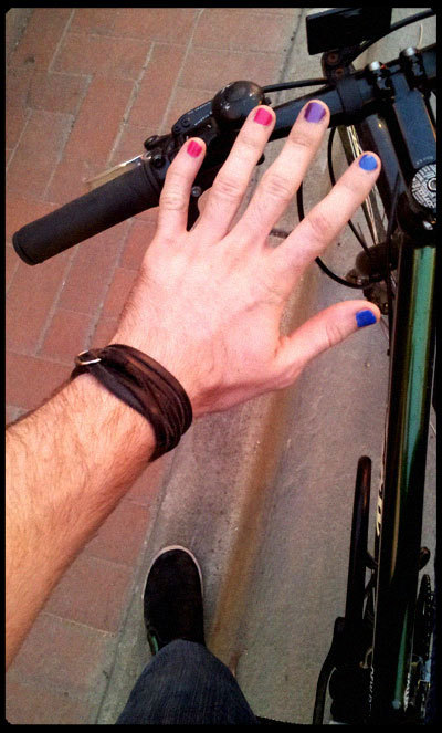 ninja-toes:  adaptablesexuality:  Bisexual Bicycle Boy!  Men wearing nail polish turn me on.  !!!