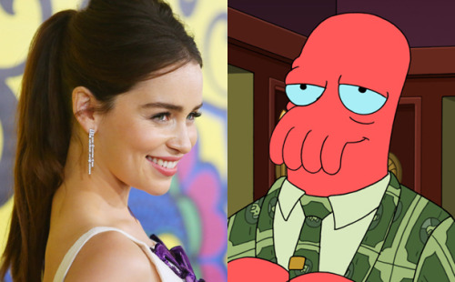 The Khaleesi will romance Dr. Zoidberg on an upcoming episode of Futurama. [head explodes]
