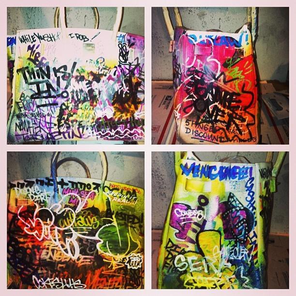 dadderall:  Customized 100% authentic Hermes Birkin bag by @themirf #graffiti (at The Broadway Chapter)