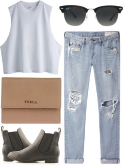 Simple living by irene-hsu featuring distressing jeans ❤ liked on Polyvorerag & bone/JEAN distressing jeans / Low black heels, $30 / Furla  bag / Ray-Ban ray ban optical, $200