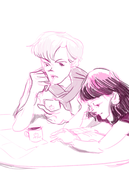 lunapress:   Hotaru & Haruka requested by cunninglittlemagpie! Afternoon at the coffee table! Hotaru reads, Haruka checks her phone (stock market app maybe?)