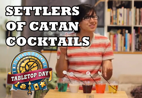 "2brokegeeks:  Make SETTLERS OF CATAN COCKTAILS based on the resources (brick, wood, ore, wool, and wheat) to celebrate International Tabletop Day this year! Or, just any day you want to get drunk and play Settlers of Catan in a festive way. Your choice. This is from Episode 10 of ""Maybe Wil Wheaton Will Show Up."" Watch Mia make these and get other ideas for your TableTop themed party in the video below:"