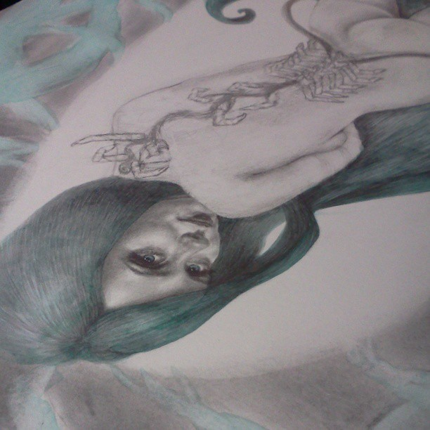 Progress shot of the #drawing I'm working on now. #fridaynigtartdorks #artistonistagram #art #graphite #derwent #winsorandnewton #watercolor #wip #green #blue #girl