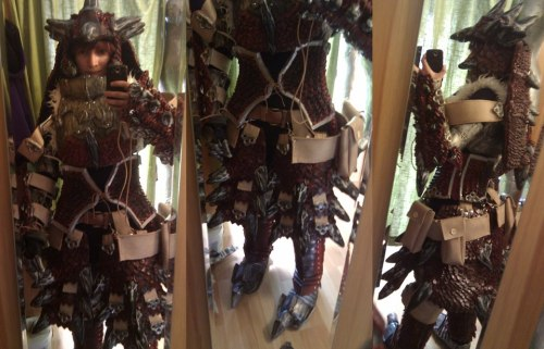 tinycartridge:  Incredible Monster Hunter cosplay Grethe B spent 10 months putting together this incredible outfit modeled after Monster Hunter's female Rathalos blademaster armor — she completed it just in time for Monster Hunter 3 Ultimate's release! She says it's a little hard to move in the outfit, but I'm amazed that she can move at all considering it's hard to tell there's even a person under all that armor. You can see photos of Grethe creating the outfit here. BUY Monster Hunter 3 Ultimate for 3DS & Wii U  Wow.