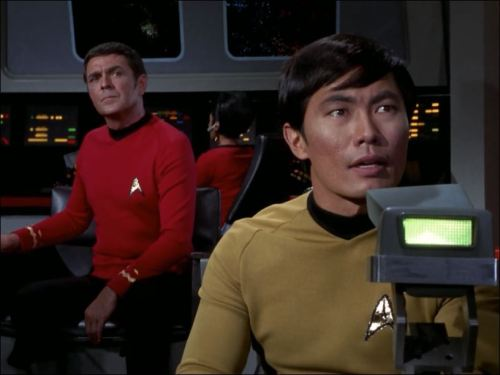 Scotty was really busy in The Tholian Web, obviously saving the day. Bonus Sulu and Spock.