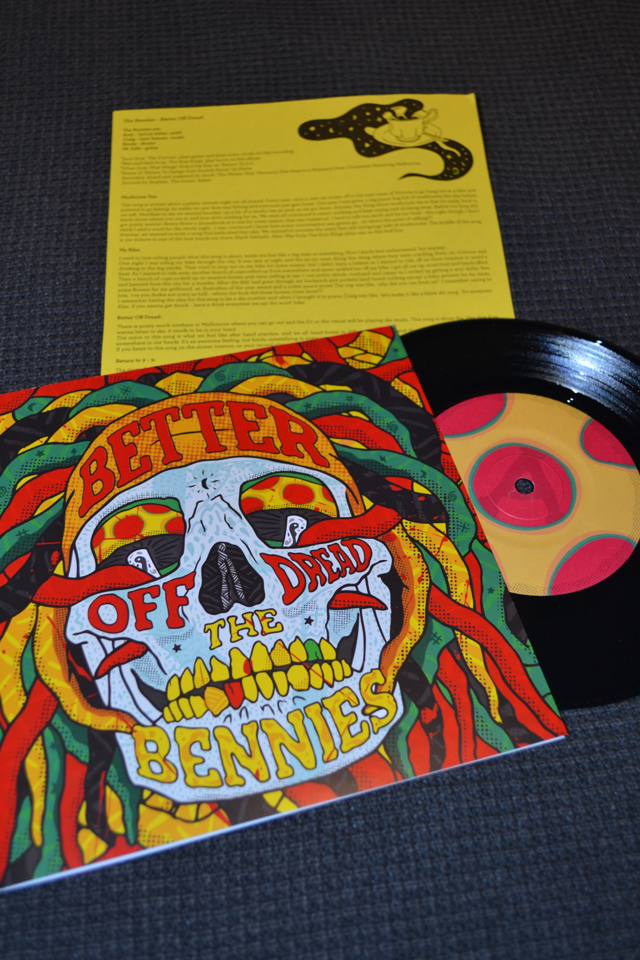"Bennies - Better Off Dread (1st Pressing, Black, /333) | Jackknife An AWESOME 7"" to follow their last LP (Party!Party!Party!). The sound is a lot more developed but still keeps all the fun ska tunes that the Bennies have made their own. The band mix things up on this release, with a rap section in 'Return to 9-5' amongst the most obvious examples. Favourite track is 'My Bike' for sure. I love the insert that comes with this record; one side is a stencil for DIY merch and the other side has descriptions of each song (rather than lyrics). More bands should do both of these things. Stream and buy a copy here."