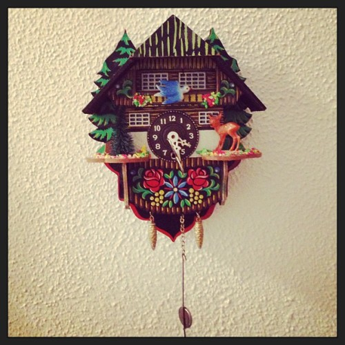 "This little cuckoo clock is only about 5"" tall, got it 2 summers ago at st Eustache flea market…it makes me want to start collecting them, but really, that could be a dangerous path to start down…"