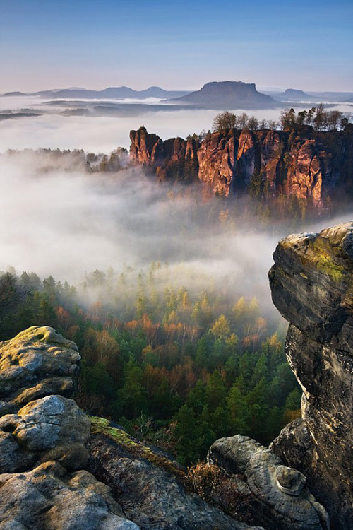 unwrittennature:  Foggy morning Bastei by: Daniel Řeřicha