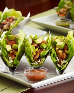 healthier-habits:  Mediterranean Chicken Lettuce Wrap Tacos Recipe Link: marthastewart.com Click here for more healthy recipes!
