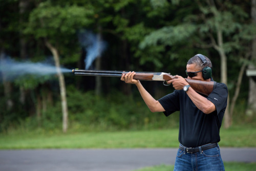 Just so you know that Obama doesn't want to replace all your guns with tofu and Communism, the White House released a picture of Obama shooting a gun This almost seems as silly to me as the White House responding to the Death Star petition.