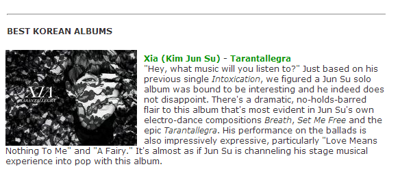 XIA Junsu's Tarantallegra included in YesAsia Editorial Team's Best Korean Albums of 2012