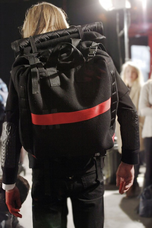 mrmatthewmiller:  richsimons:  Matthew Miller - Fall/Winter 2013 (backstage)  Matthew Miller AW13 back view collab H by Harris Bags.  I delivered these bags to the show <3