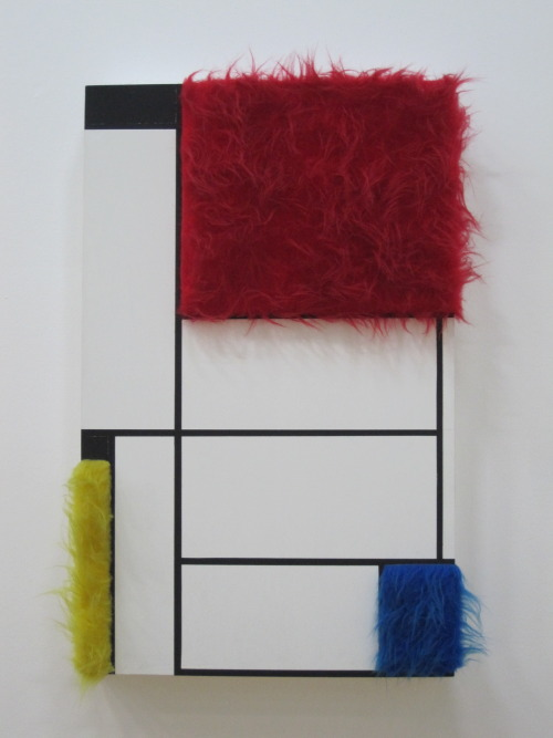 indefenseofart:  Sylvie Fleury, Tableau n*1, 1992While we're on the topic of Mondrian today, I adore this Fleury at the Centre Pompidou in Paris. Like Eva Hesse's reaction against the dominant masculine aesthetics in Minimalism, Fleury may also be seen to rethink the vocabulary of abstraction by staging a confrontation between mediums and even reinvest and reanimate the older narrative of de Stijl with a haptic feminine sensibility.