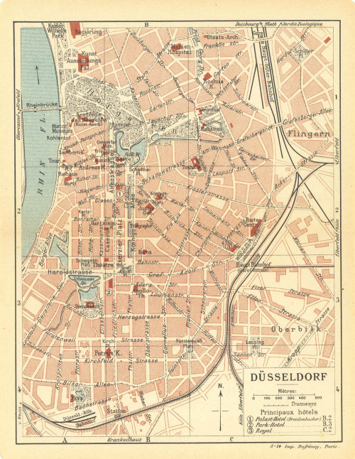 1920  Dusseldorf City Plan Germany Street Map at CarambasVintage http://etsy.me/13hFytf