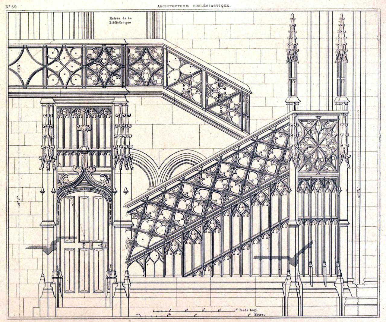 Elevation of the staircase inside the Cathedral of Notre Dame, Rouen