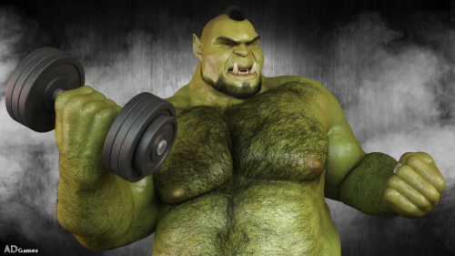 During this confinement period, the sports halls are closed. So do like Grogg, make it at home!  https://www.patreon.com/ADGames #3d work#ad games#muscles#orc#fat