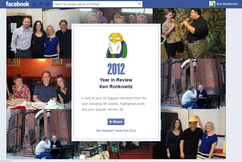 My Facebook year in review doesn't really tell me much about this year in my life - but it is my year in Facebook - which isn't the same thing. In other words, Facebook is not life. And that's a good thing.