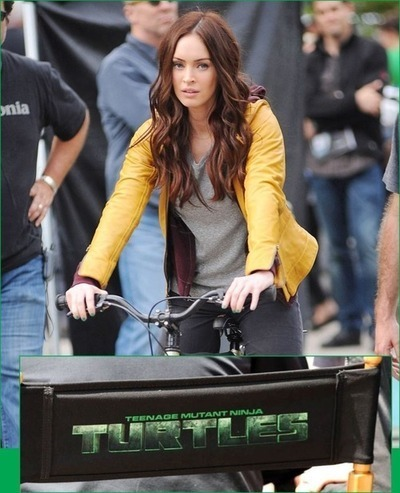Megan Fox as April O'Neil. On the set of TMNT.