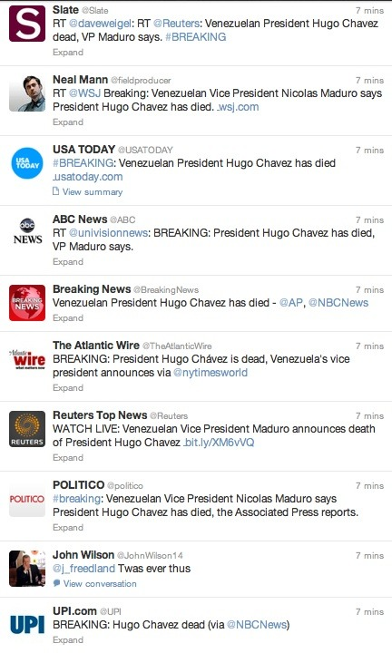 BREAKING — Venezuelan President HUGO CHAVEZ died. » Read the news report on NBC World News