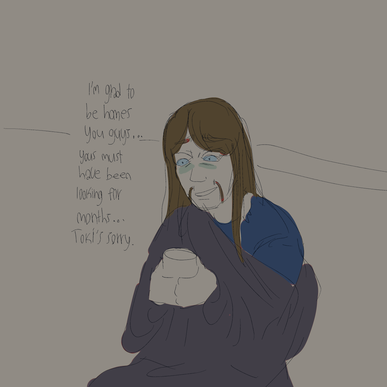 Coming home after the kidnapping #YIPPEE TO BEING SAD! WAHOO!  #Sketchy as hell because this was a rejected kloktober thing lol i decided to do something else instead #toki wartooth#skwisgaar skwigelf #pickles the drummer #nathan explosion#william murderface#my art#metalocalypse#dethklok