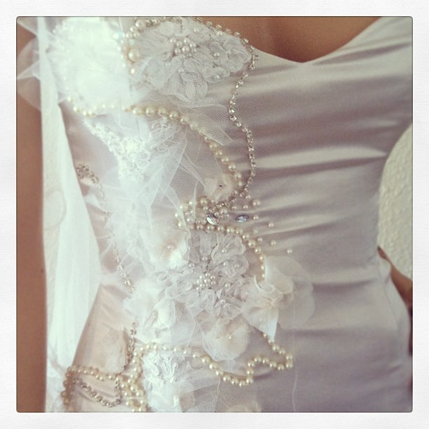 Hand beading and appliqué by #begitta #begittabridal #beading #wedding #weddinggown #bridal #behindthescenes #inspired
