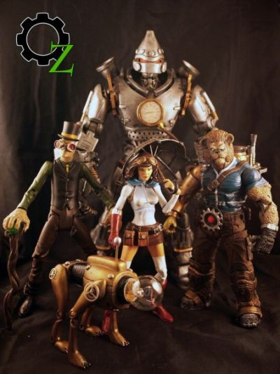 Steampunk Wizard of Oz custom figures (via user Texture Me on Custom Action Figure Showcase)