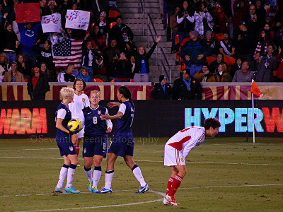 Post Amy Rodriguez goal hugs. Taken on 12/12/12 USWNT v. China - BBVA Compass Stadium  ————————— Finally got the chance to meet A-Rod not once, but twice! It's true, she is as sweet as they come. Because I was so happy for her, I congratulated her on the goal almost as soon as she walked into the tunnel and her face lit up as she thanked me. I don't think she was expecting that kind of enthusiasm. Also asked her if she had chosen the cap or the Rolex watch to commemorate her 100th cap. In case you're wondering, she says she hasn't chosen just yet.