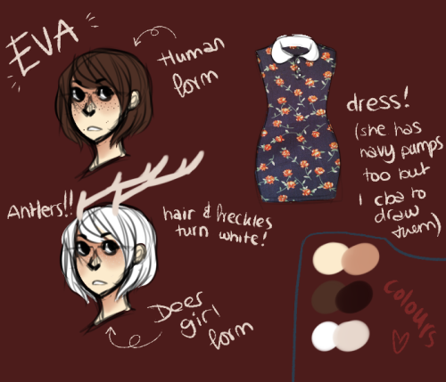 a really bad, really rough reference for my latest OC; Eva orz dress pattern