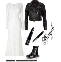 TIFANY por brigab con red lip makeupPhase Eight wedding gown, $1,130 / River Island black jacket, $150 / Diva lounge boots / Guerlain lip pencil / Lord & Berry red lip makeup, $18 / Smith Wesson H.R.T. Tactical Boot Knife with Boot Clip Sheath
